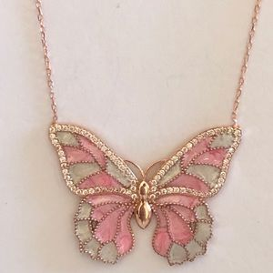 Jewelry - Silver pink butterfly necklace